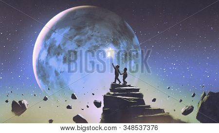 Two Brothers Walking On Floating Mountain And Looking At A Little Star In The Beautiful Sky, Digital