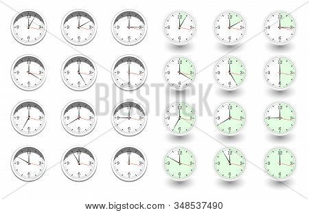 Set Of Clocks For Every Hour On White Background. Vector Illustration In Flat Style With Shadow