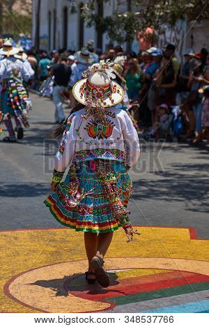 Arica, Chile - February 11, 2017: Tinkus Dance Group Dressed In Ornate Costumes Performing A Tinkus