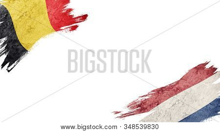 Flags Of Belgium And Nederland On White Background