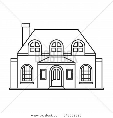 Villa Of House Vector Icon.outline, Line Vector Icon Isolated On White Background Villa Of House .