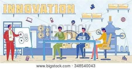 Industrial Innovations Experts Word Concept Banner. Hi Tech Specialist Suggesting Factory Modernizat