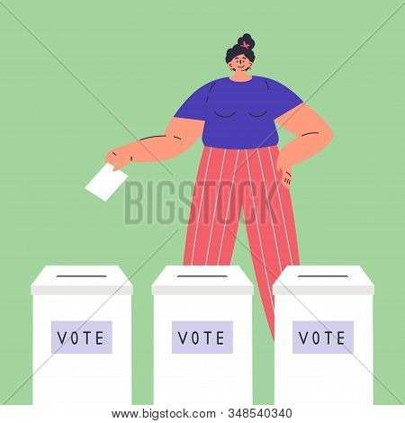 Confident Happy Woman Is Voting.vote Box.woman Chooses Whom To Vote For.women Have Rights.feminism C