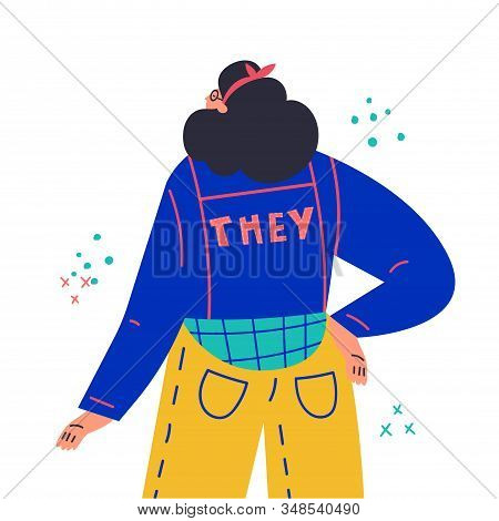 Young Woman Standing, Look From The Back.inscription They On Jacket.gender-neutral Movement.girl Wit