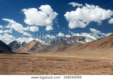 Beautiful Landscape Panorama Of Pamir Mountains Area In Tajikistan Near Pamir Highway Or Pamirskij T