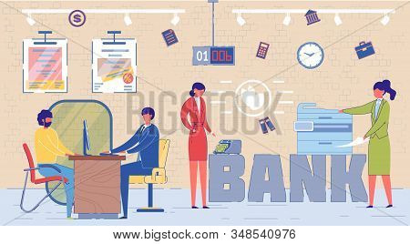 Bank Personnel Work In Office Word Concept Banner. Banking Manager, Finance Expert Consulting Client