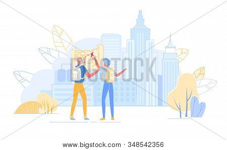 Senior Tourist Characters Watching Map In Abroad Trip, Traveling People With Backpacks Searching Rig