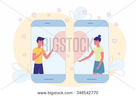 Teens Get To Know And Chat On Internet, Flyer. Young Girls And Boys Liked Each Other In Social Netwo