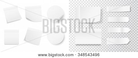 White Sticker Set On Transparent And White Background. Realistic Stickers With Folded Edge. Paper La