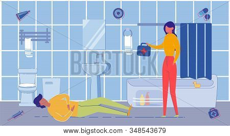 Man Laying On Floor With Strong Heart Attack Or Pain Bout And Woman Providing Emergency Medical Care