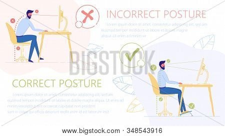 Incorrect And Correct Posture To Sit At Table Flat Cartoon Vector Illustration. Ergonomic Concept. F