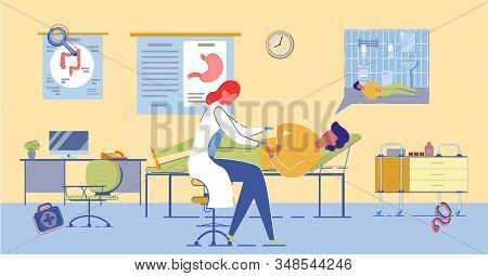 Woman Gastroenterologist Exams Patient With Stomach Pain. Digestive System Diseases Medical Treatmen