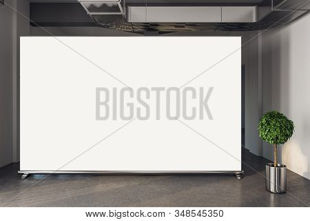 Gallery Interior Room With Empty Banner On Wall And Pot Of Plants. Gallery Concept. Mock Up, 3d Rend