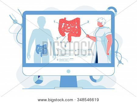 Intestinal Tract Study Flat Vector Illustration. Doctor, Professor Explaining Human Digestive System