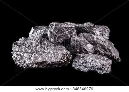 Large Silver Nugget On Black Background. Raw Silver Stone, Silver Nugget Native To Liberia, Isolated