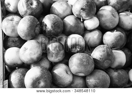 Natural Texture. Apples Fruits Background Texture. Apple Harvest Concept. Organic Fruits Backdrop. H