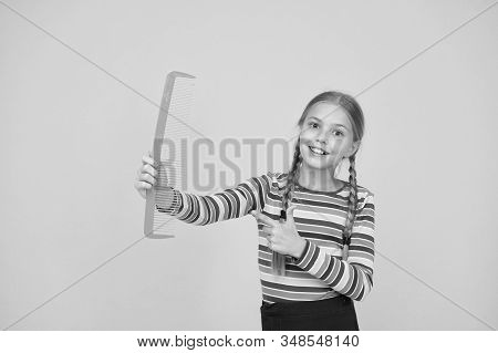 Comb For Tangled Hair. Hairdresser Supplies. Large Comb. Girl Long Hair Hold Enormous Comb. Hairdres