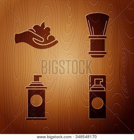 Set Shaving Gel Foam, Shaving Gel Foam On Hand, Shaving Gel Foam And Shaving Brush On Wooden Backgro