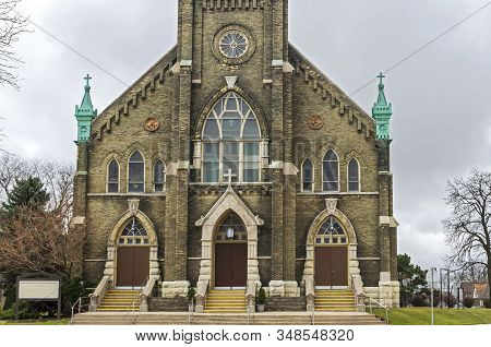 Landmark Neo-gothic Style Church Front Entrance And Facade In Lincoln Village Neighborhood Of Milwau