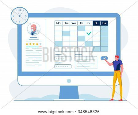 Man Choosing Doctor Online Vector Illustration. Patient Scheduling Meeting With Therapist Cartoon Ch