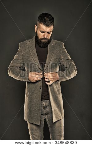 Brutal Hipster Man. Hipster Wearing Casual Clothes. Hipster Beard And Stylish Haircut. Bearded Man T
