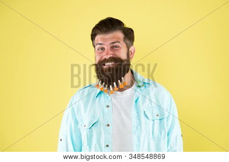 Beauty And Fashion. Hair Drying At Barbershop. Hairdresser Concept. Man Clothespin On Beard. Brutal