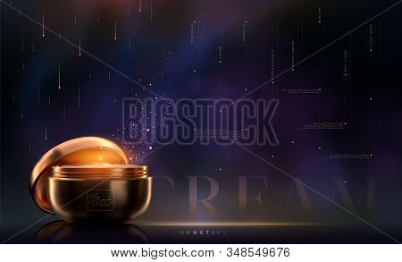 Stylish Gold Cosmetic Template For Ads, Flyer Or Banner. Realistic 3d Black And Gold Cosmetic Jar Fo