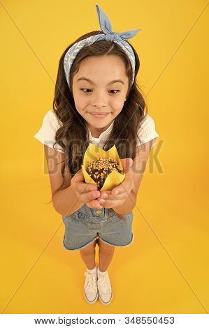 Gluten Free Recipe. Delicious Cupcake. Little Child With Muffin On Yellow Background. Treat Someone