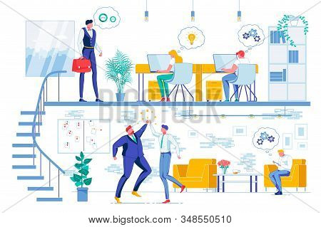 Office And Lounge Zone Flat Vector Illustration. Working And Resting Managers Faceless Characters. W