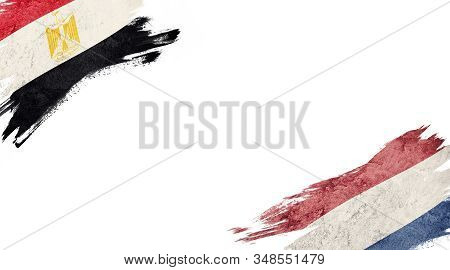 Flags Of Egypt And Nederland On White Background