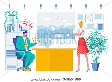 Office Job, Subordination Flat Vector Illustration. Strict Executive And Secretary, Boss And Assista