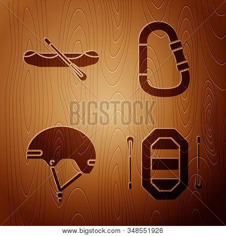 Set Rafting Boat, Rafting Boat, Helmet And Carabiner On Wooden Background. Vector