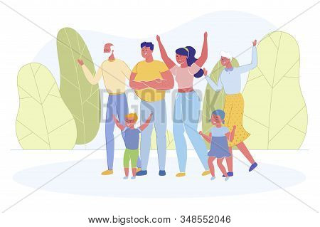 Big Happy Family Portrait. Mother, Father, Children And Grandparents Rejoice And Laughing. Old And Y