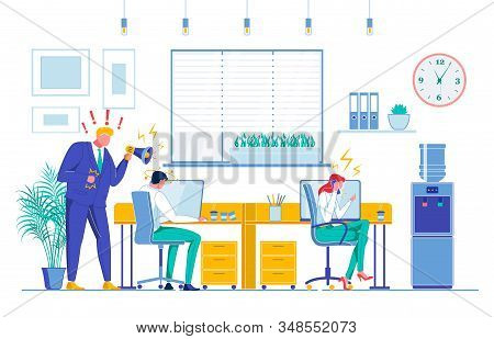 Stressful Work, Pressure Flat Vector Illustration. Office Workers, Director With Megaphone, Executiv
