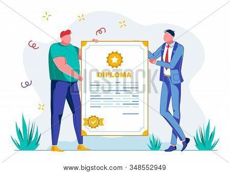Presentation Success Diploma School, Cartoon. Guys Hold Beautiful Document, Large Diploma With Seal.