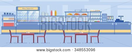 Canteen Interior. Empty Dining Room, Counter With Food Beverage, Tables, Chairs Vector Illustration.