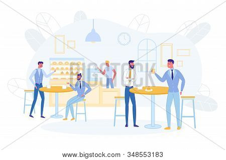 Business People Having Coffee Break Or Lunch Sitting In Cafe At Tables Drinking Beverages, Eating Ca