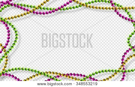 Mardi Gras Beads Isolated On Transparent Background In Traditional Colors Purple, Gold And Green. Fa