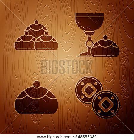 Set Jewish Coin, Jewish Sweet Bakery, Jewish Sweet Bakery And Jewish Goblet And Hanukkah Sufganiyot