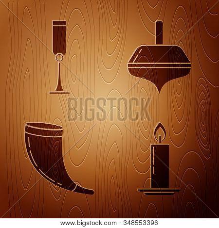 Set Burning Candle In Candlestick, Jewish Goblet, Traditional Ram Horn, Shofar And Hanukkah Dreidel