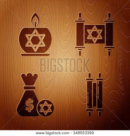 Set Torah Scroll, Burning Candle In Candlestick With Star Of David, Jewish Money Bag With Star Of Da