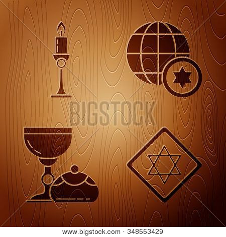 Set Star Of David, Burning Candle In Candlestick, Jewish Goblet And Hanukkah Sufganiyot And World Gl
