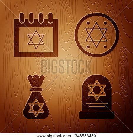 Set Tombstone With Star Of David, Jewish Calendar With Star Of David, Jewish Money Bag With Star Of