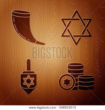 Set Jewish Coin, Traditional Ram Horn, Shofar, Hanukkah Dreidel And Star Of David On Wooden Backgrou