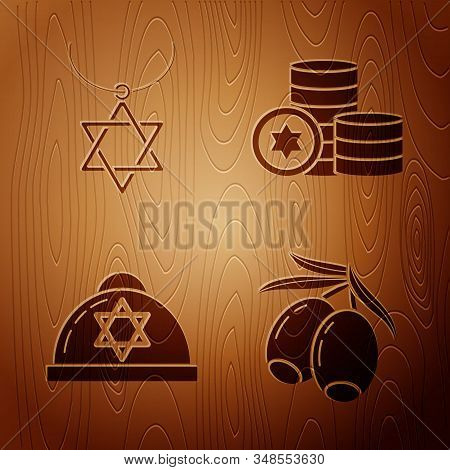 Set Olives Branch, Star Of David Necklace On Chain, Jewish Kippah With Star Of David And Jewish Coin