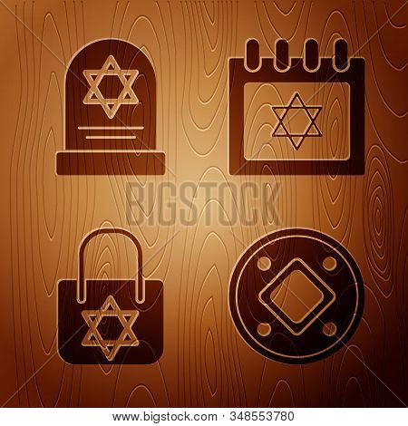 Set Jewish Coin, Tombstone With Star Of David, Shopping Bag With Star Of David And Jewish Calendar W