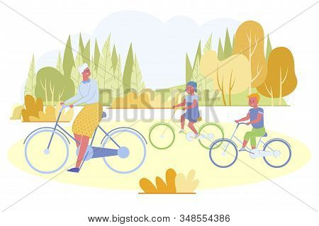 Active Senior Woman Spending Time With Her Grandchildren Riding Bikes In City Park At Summertime. Gr