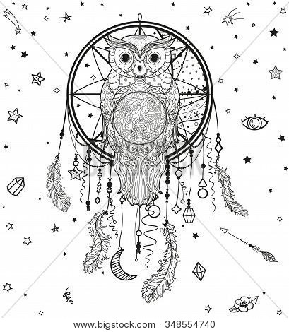 Dreamcatcher With Owl On White. Hand Drawn Elements. Design For Spiritual Relaxation For Adults. Bla