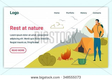 Rest At Nature Horizontal Banner. Young Man Spend Time At Summer Camp In Forest. Tourist Hiker Stand