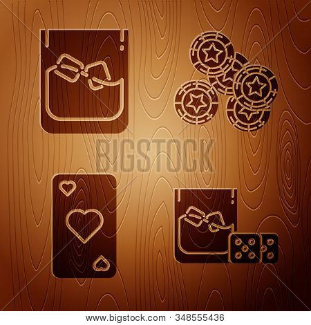 Set Game Dice And Glass Of Whiskey With Ice Cubes, Glass Of Whiskey And Ice Cubes, Playing Card With